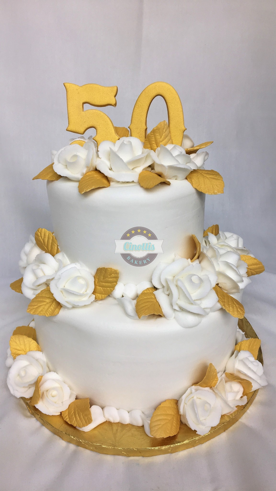 Fiftieth Anniversary, Cake, Wedding, Gold, White, Jacksonville