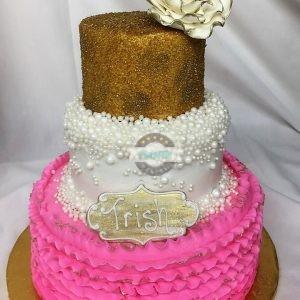 Flirty Fifty Celebration, Cake, Adult, Baby, Woman, fifty, Flirty, Bubbles, Pearls, Gold, White, Cake, Cinottis, Jacksonville, Party