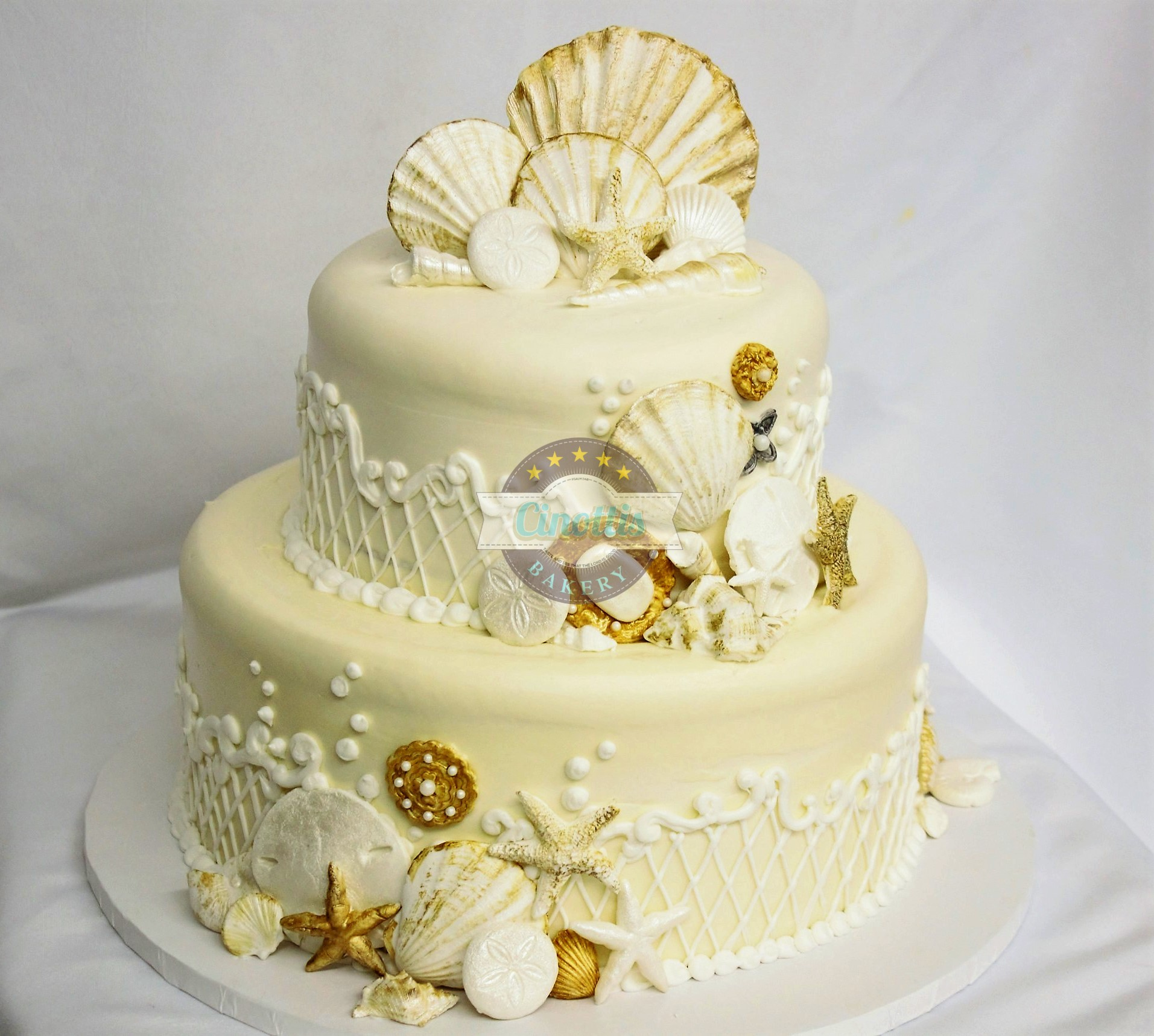 Seashells Wedding, Beach, Gold, Antique, Starfish, Sand, Cinottis, Bakery, Jacksonville, Beach