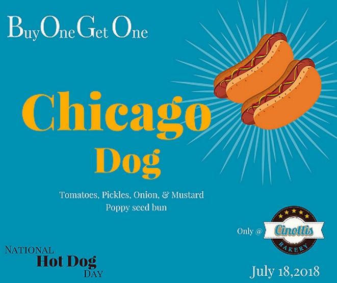 Hot Dog, National Hot Dog Day, BOGO, Cinotti's Bakery, Jacksonville Beach, Chicago Dog
