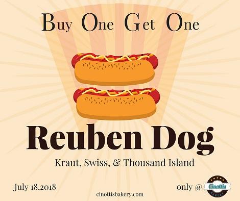 Hot Dog, National Hot Dog Day, BOGO, Cinotti's Bakery, Jacksonville Beach, Reuben dog