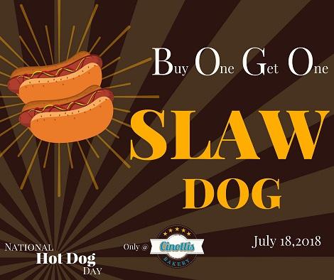 Hot Dog, National Hot Dog Day, BOGO, Cinotti's Bakery, Jacksonville Beach, Slaw Dog