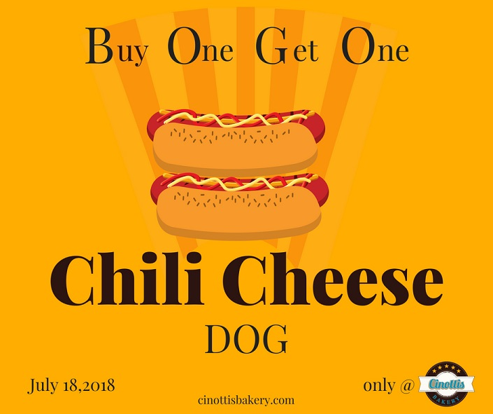 Hot Dog, National Hot Dog Day, BOGO, Cinotti's Bakery, Jacksonville Beach, chili cheese dog