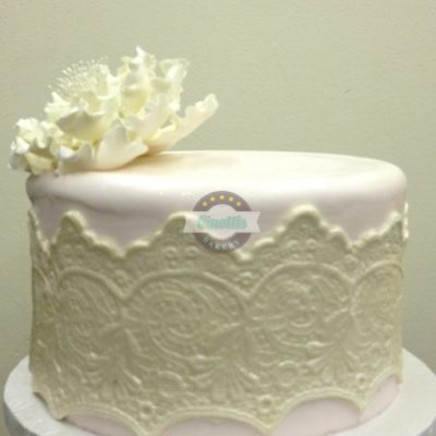 Fondant Lace, Peony, Flower, Buttercream Baby shower birthday cake wedding cake, glitter, Cinotti's Bakery