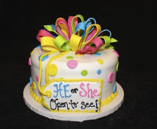 Gender Reveal, pink. blue, yellow, baby shower, bow, fondant, dots, glitter, he or she, Cinotti's Bakery,