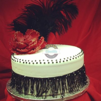 Great Gatsby, Feather, flower, peony, fringe, buttercream fondant, glitz, glam roaring twentys 20's Cinottis Bakery
