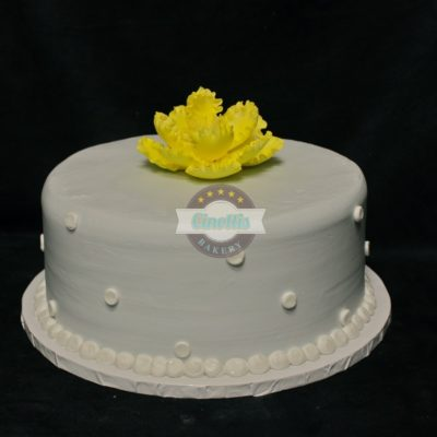 Grey buttercream yellow peony, fondant flower, birthday cake, baby shower, glitter,
