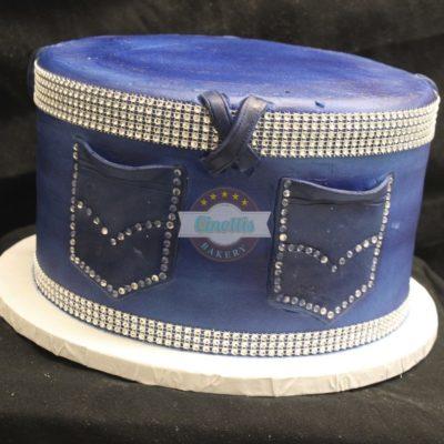 Jeans Bling, Cake, Birthday, denim, belt buckle, fondant, buttercream Cinottis Bakery, Jean Cake