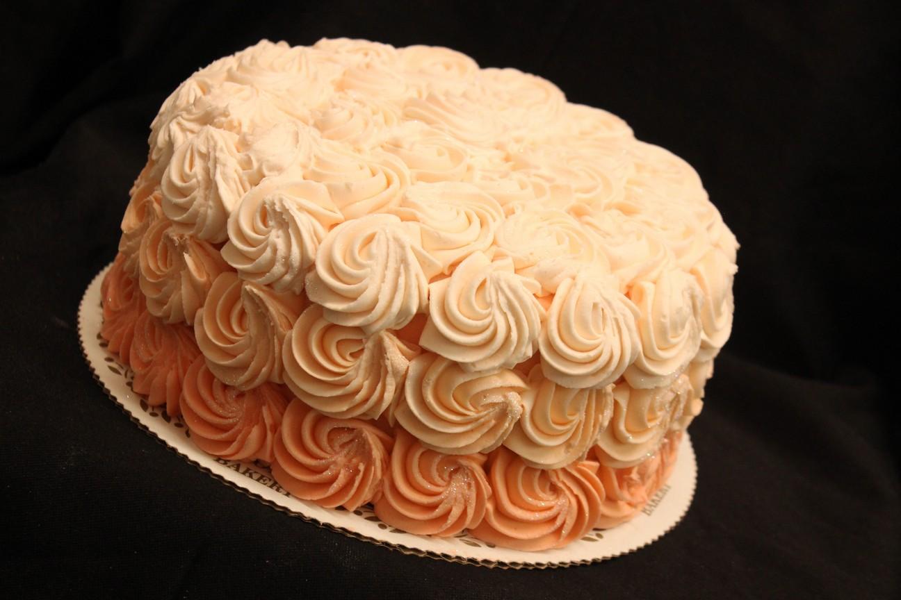 Peach Ombre, Swirls, Ombre, Peach, Pink, Birthday, Baby, Shower, Glitter, Buttercream Fondant, Cinottis Bakery