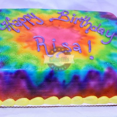 Tiedye Cake, Buttercream Peace love happiness, glitter, multicolor, Cinottis Bakery, Phsycodelic, sixties 60's birthday, cake, party