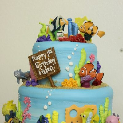 Underwater theme, Finding Nemo, Spongebob, Fondant, Buttercream Fish, Coral, Seaweed, Bubbles, Ocean, Mermaid, Snorkle, Birthday, Baby, Cake, Cinottis Bakery