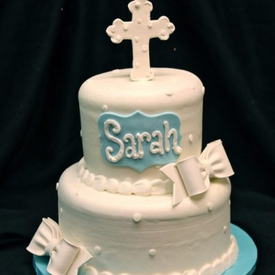 Baptism Beauty, baby, fondant, gumpaste, cross plaque, butterceam Cinottis Bakery