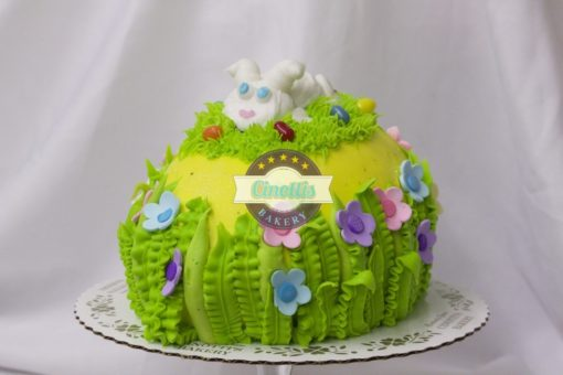 Easter Egg cake, Vanilla Chocolate Centerpiece Basket, Spring, Bunny, Colorful, Pastel, Buttercream Icing, Cinottis Bakery, Jacksonville Beach, Carrots, Sheeps, Eggs, Grass5