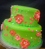 Lime Green & Pink Flowers