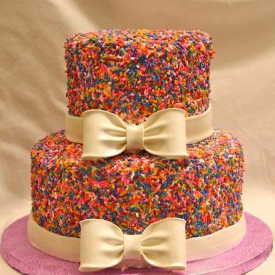 Kylie Covered Cake, Sprinkles cake, covered in sprinkles, bow, birthday, baby, wedding,