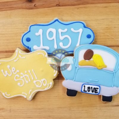 Happy Anniversary, Cookies, favors, party, cute, 50, car, drive,in, old, love, valentines, Jacksonville, Cinottis, I, Do, Celebration