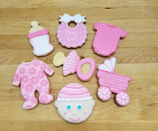 Baby, Pram, carriage, bottles, onesie, jammies,Cookies, shower, bakery, jacksonville, fun, favors, themed