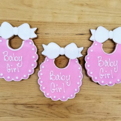 Baby bib,Pram, carriage, onesie, jammies,Cookies, shower, bakery, jacksonville, fun, favors, themed