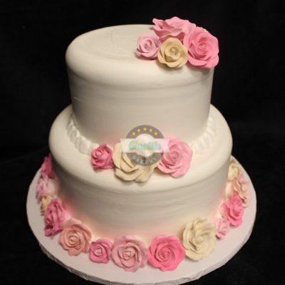 Royal Icing Roses, Buttercream Icing, Fresh Flowers, Cinottis Bakery, Pink, Wedding, Bridal, birthday, anniversary, baby, cake gumpaste pink