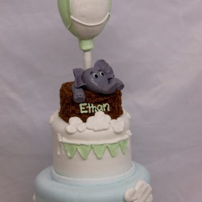Elephant's Hot Air Balloon, Clouds Baby SHower Birhday Fodant CInotti Bakery Basket Banner