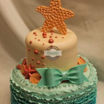 Dusty Mermaid,Ombre Ruffles, aqua, starfish, beachy chic, shabby, fondant bows, sea shells,