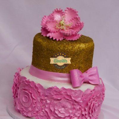 Pink Ruffled Flowers, Gold Bling Fondant Rosettes, CInottis Bakery, Fondant Baby Shower