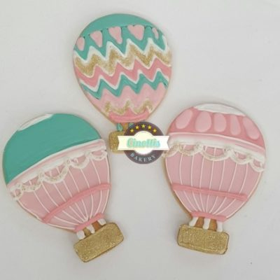 Hot Air Balloon Cookies, Baby Shower, Cookie, favor birthday Cinottis Bakery Basket