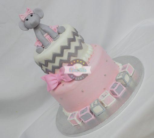 Baby elephant and blocks, Bow, Blocks, Birthday, Fondant, Pink, Cinottis Bakery Ballerina3