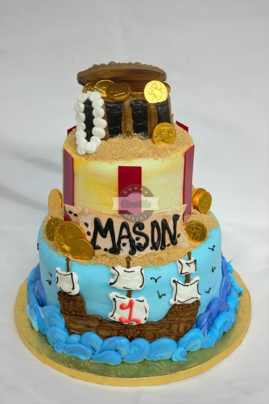 Pirate Treasure Chest, Cake, Treasure chest, ship, water, gold coin, sand, pearls, birthday, carribean, fondant, buttercream handmade Cinottis Bakery