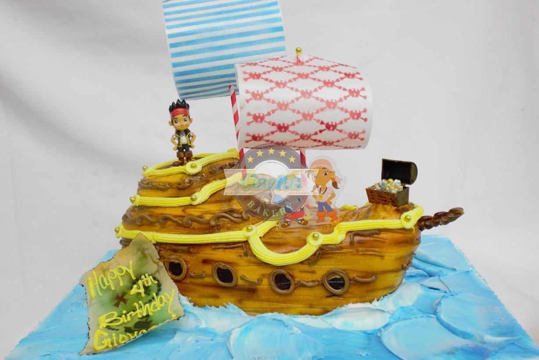Pirate Ship Sculpted Cake Cinottis Bakery