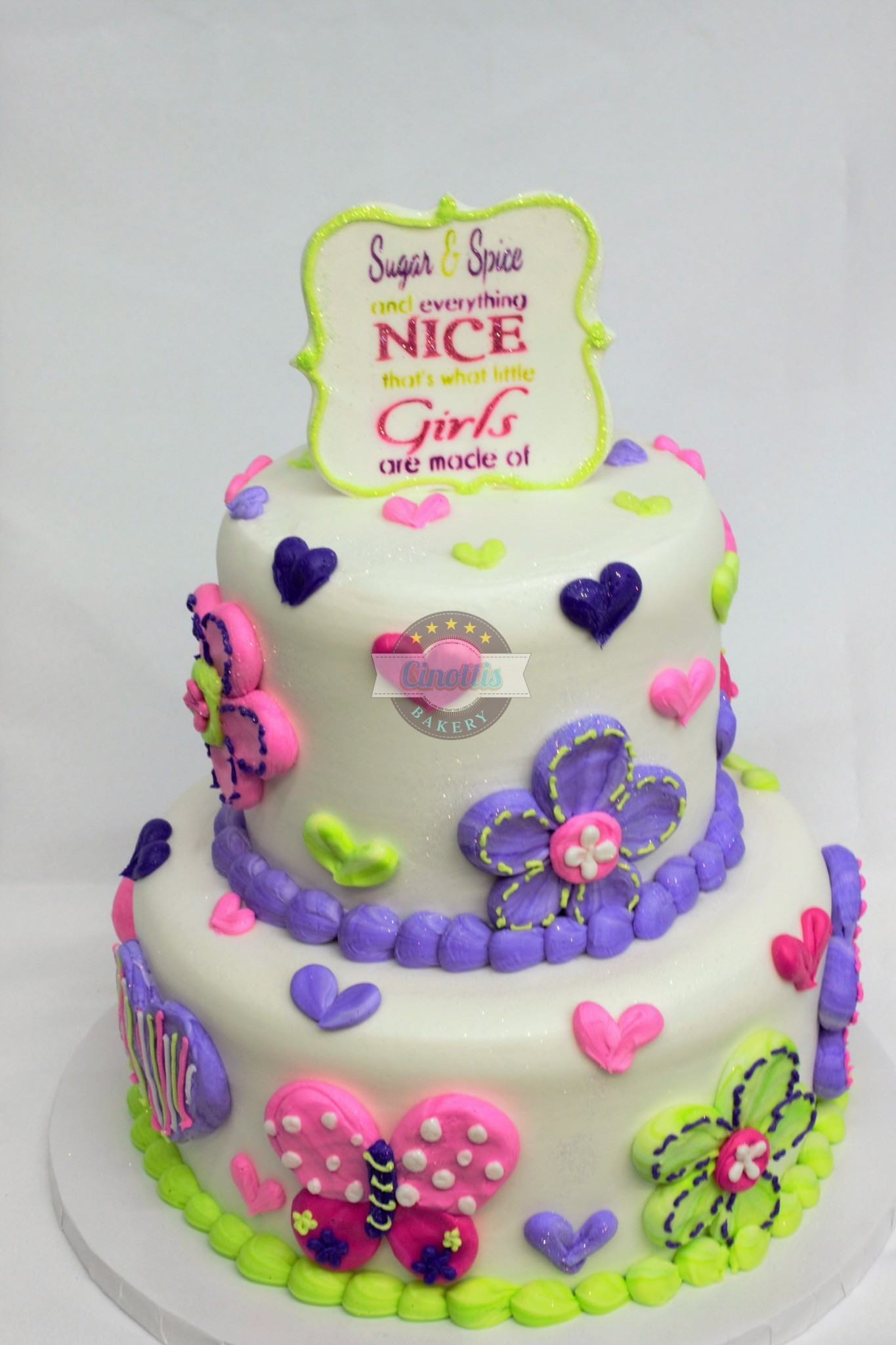 Sugar and spice cake a celebration cake from cinottis bakery sugar and spice birthday girl butterflies flowers sugar and izmirmasajfo