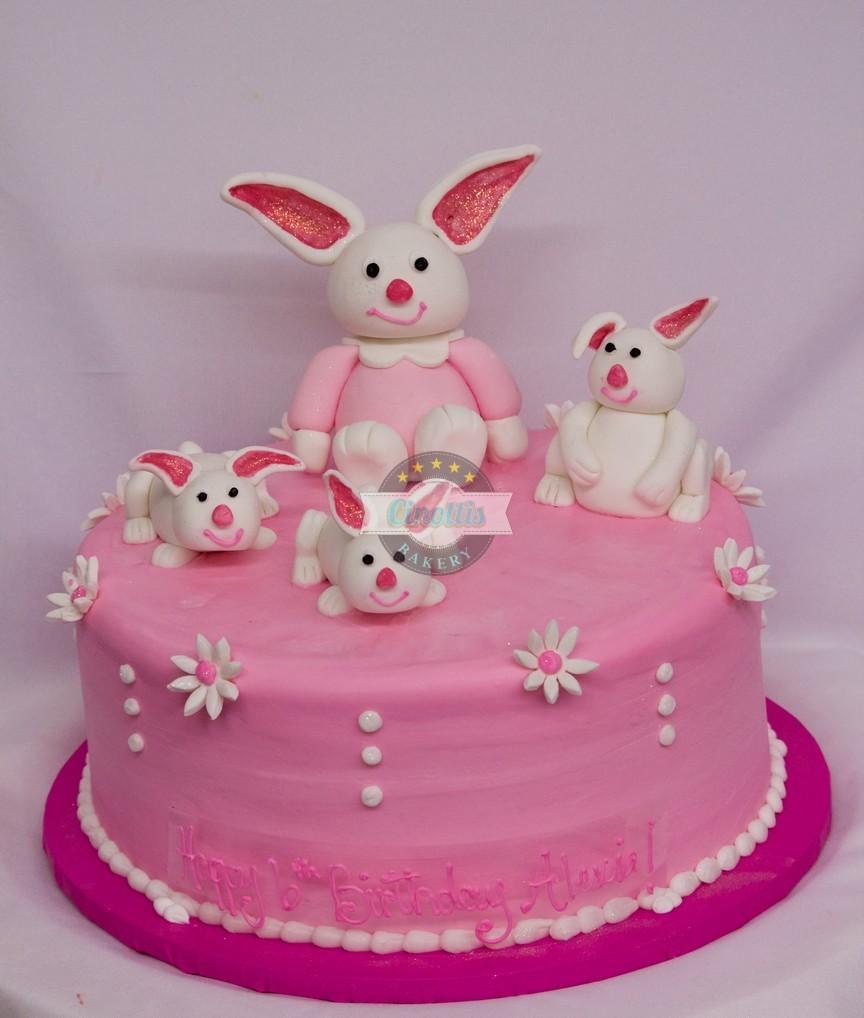 Fondant Bunnies Birthday Cake From Cinottis Bakery
