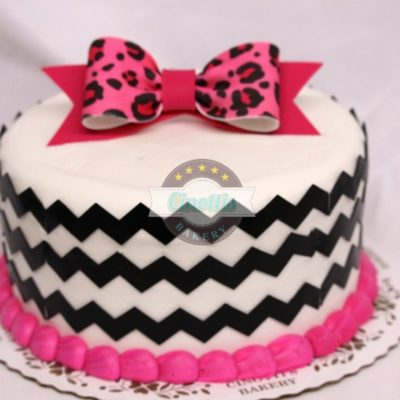 chevron and bows, pink-fondant-bows-glitter-baby-cake-birthday-party-cinottis-bakery