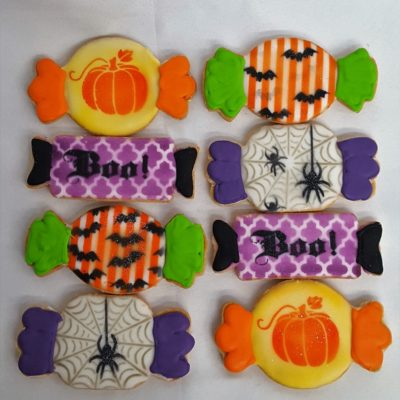 Halloween Candy, cookies-spooky-ghosts-skeletons-zombie-candy-boo-pumpkin-jack-o-lanterns-haunted-house-witches-brew-couldren-candy-corn-spiders-tombstones-mummy-witch-eyes-hats