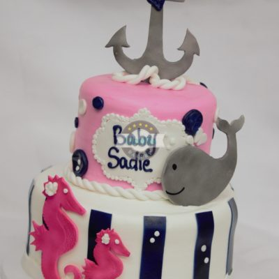 Anchor your love in a pink baby whale-cake-baby-shower-pink-navy-blue-anchor-whale-seahorse-fondant-buttercream-rope-cinottis-bakery-jacksonville-beach