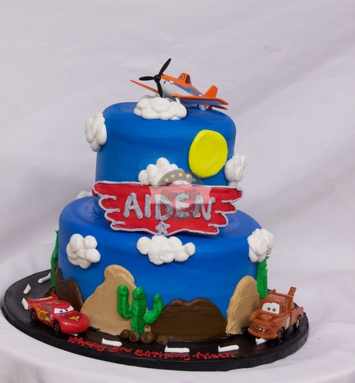 lightening McQueen, Planes fire rescue, grand canyon, route 66, mater, birthday kids cake,