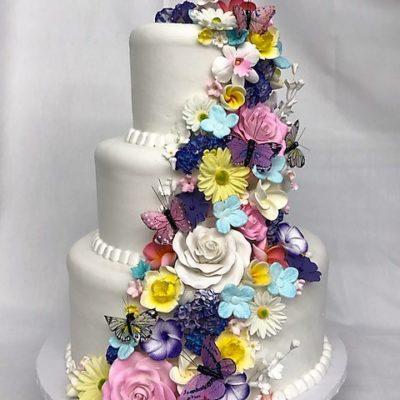 Garden Flowers, Butterflies, Birthday, Flowing, Simple, Girlly, Adult, Wedding, Cake, Rustic, Jacksonville