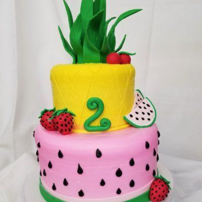 Tooty Fruity, Birthday, Cute, Fruit, Cake, kids, fun, trendy, strawberries, Pineapple, Watermelon, Jacksonville, Cinotti