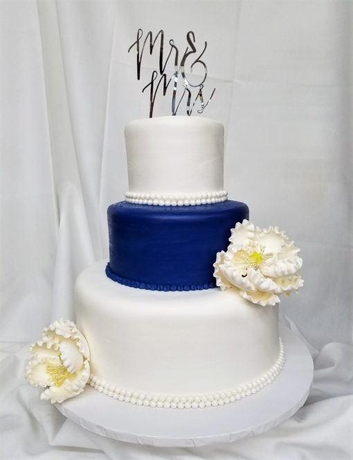 Beaded Blue Peony, Wedding, Cake, Blue, Navy, White, Flowers, Beads, Simple, Elegant, Flowers, Jacksonville, Bridal, Shower, Cinottis, Bakery