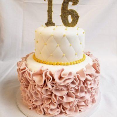 Fondant Ruffles and Quilts,Pink, gold, ruffles, sweet, sixteen, 16, fun, flirty, trendy, cakes, adult, bakery, jacksonville, beach