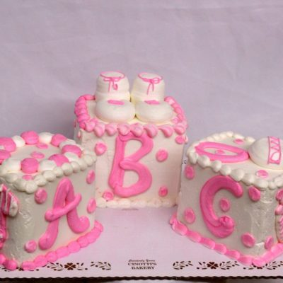 Baby Blocks, Cake, themed, shower, cake, pink, blue, party, jacksonville, beach, bakery