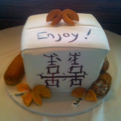 Chinese take-out, box, cake, fun, idea, grooms, cake, jacksonville, beach, egg, roll, cookie