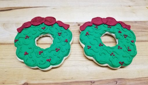 Christmas wreath, cookie, favor, party, exchange, homemade, icing, cinottis, bakery, jacksonville, beach