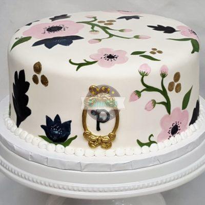 Hand-Painted Flowers, Chic, Shabby, Fondant, Gold, Pink, Birthday, Cake, Cinottis, Jacksonville, Adult, Woman