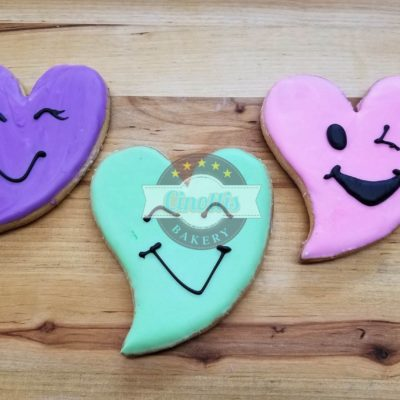 Funky Heart Iced Cutout, Cookie, Cinottis Bakery