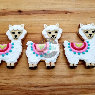 Llama Iced Cutout, Cookies, CInottis Bakery, Cinco