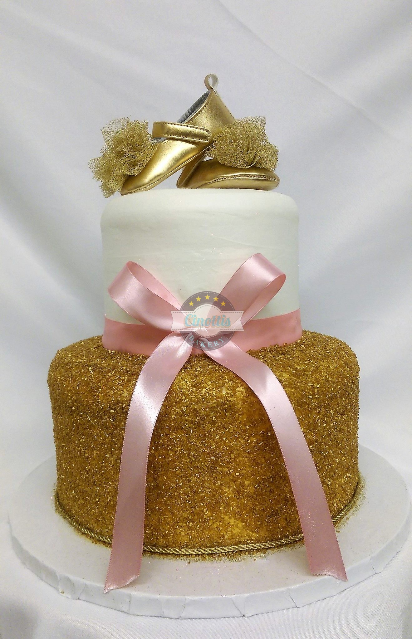 pink and gold baby shower cake ballerina baby shower cake from cinotti s bakery 6554