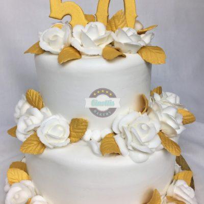 Fiftieth Anniversary, Cake, Wedding, Gold, White, Jacksonville