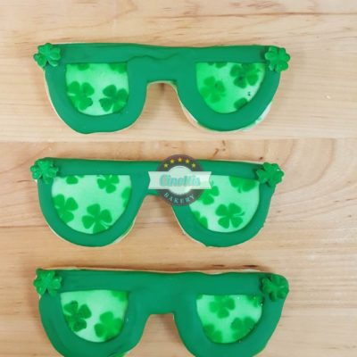 Lucky Sunglasses, St. Patrick's Day, cookies, cinottis b