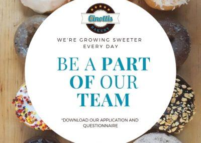 Bakery jobs, customer service jobs, cinottis bakery